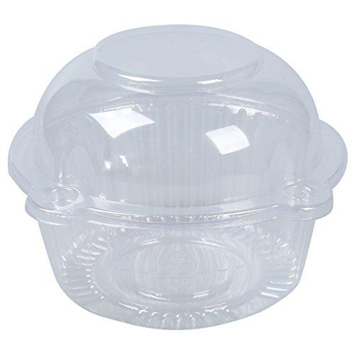 SODIAL(R) 50 x Simple plastique transparent Support de petit gateau / gateau conteneur Dome Muffin Transporteur