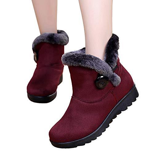 BHYDRY Schuhe Damen Klassisch Einfach Winter KnöChelhohe Schneestiefel Warme Taste Schuhe Warm Bequem Flache Schuhe Outdoor Schuhe PlüSchfutter Basis Schuhe(36.5 EU,B Weinrot)