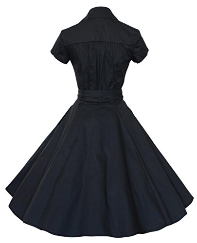 Eyekepper Robe femme demoiselle Vintage Rockabilly manche courte Bal Party Noir
