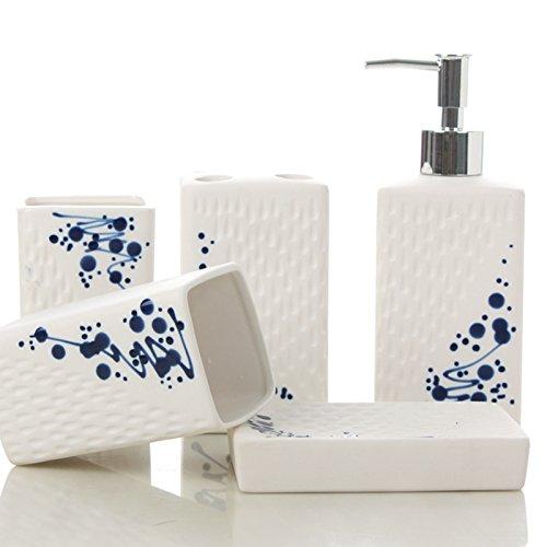 Bianco smalto opaco gita bagno in ceramica cinque pezzo bagno set cortesia