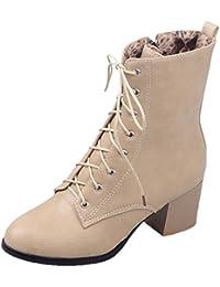 Cordones Botas Mujer Guantes Combat Boots Bloque Tacón Schnürer Cordones Italiana de Diseño Botines, Color Beige, Talla 39 EU