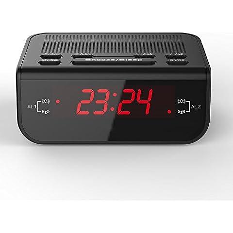 Anself Compact Digital Alarm Clock Radio FM con doppio allarme Buzzer Snooze funzione di sonno Rosso Tempo Display LED