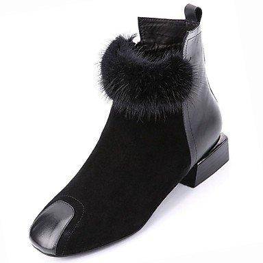 SANMULYH Scarpe Donna Moda Invernale Stivali Stivali Tacco Basso Punta Quadrata Mid-Calf Scarponi Per Nero Casual Nero