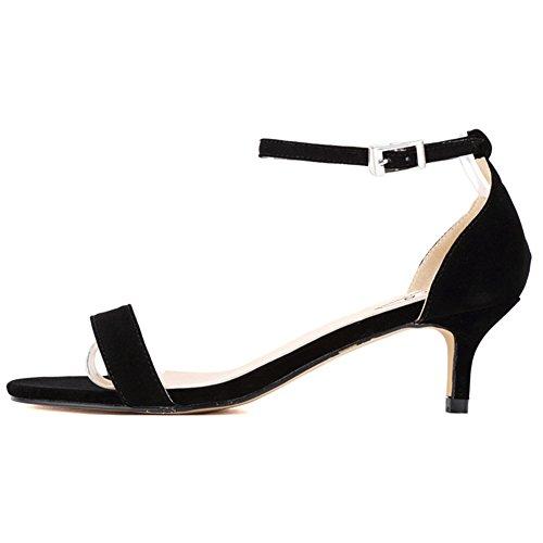 (EKS Sommer Schuhe Frau Dünne Fersen Mode Damen Schuhe Sandalen Knöchelriemen Metallschnalle Schwarz Wildleder 39EU)