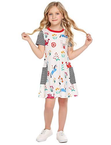 Muster Streifen T-shirts (Bricnat Mädchen T Shirt Kleid Kurzarm Comic Muster mit Streifen Tier Süß Cacual A-Linie Sommer 150)