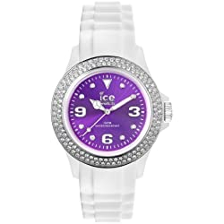 Ice-Watch Women's Quartz Watch with Purple Dial Analogue Display and White Silicone Strap IPE.ST.WPE.U.S.12