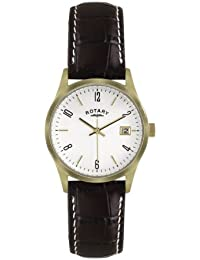 Rotary Men's Quartz Watch with White Dial Analogue Display and Brown Leather Strap GS02724/18