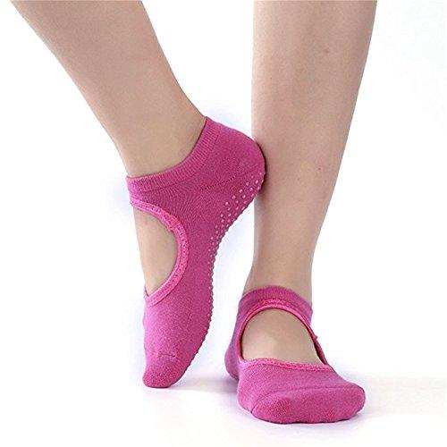 Qees, wz01 - calzini antiscivolo da donna in cotone per yoga, danza e sport da combattimento, rose, misura unica