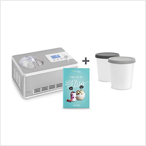 Gelatiera e yogurtiera elisa 2 in 1 con compressore autorefrigerante   180w, 2l   macchina per gelato & yogurt in acciaio inox con funzione mantenimento del freddo