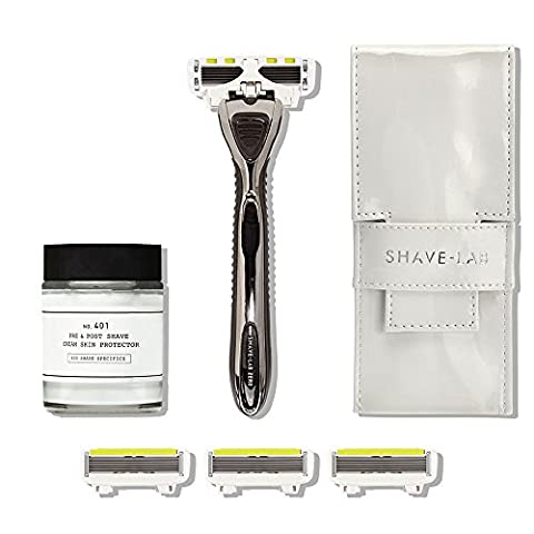 Shave-Lab Bodyshave Kit Mrs Gorgeous including Manual Shaver Zero in Timeless Black for Ladies plus 4 P.L.6 Razor Blades and Depot 401 Pre & Post Shave Lotion and Slim Traveller