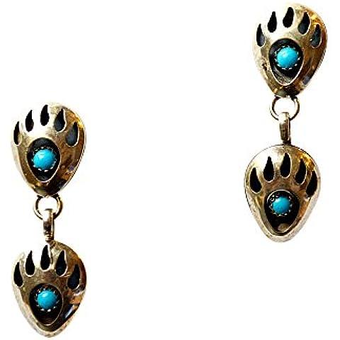 Orecchini in argento Sterling 925 ursidae agitano con 1 vero turchese pietra Navajo indiano gioielli