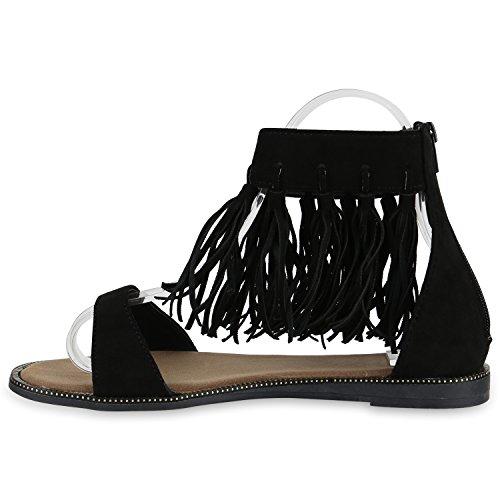 Damen Sandalen Fransen | Glitzer Schuhe Quasten | Metallic Flats Schnallen | Riemchensandalen Damenschuhe Velours Schwarz Quasten