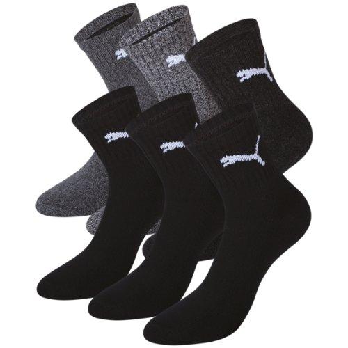 PUMA Unisex Short Crew Socks Socken Sportsocken MIT FROTTEESOHLE 6er Pack, Größe:39-42;Pack:6er Pack/Paar;Farbe:black / anthracite-grey (200/207) (Pack Crew)