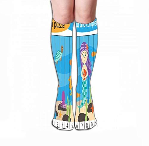 CVDGSAD Print Women's Knee Hohe Socken Athletic Over-The-Calf Tube 19.7