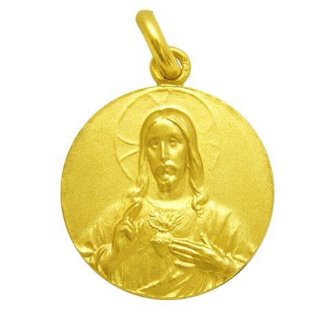 Sagrado Corazón de Jesús - Medalla en Oro de 1ª Ley de 18k