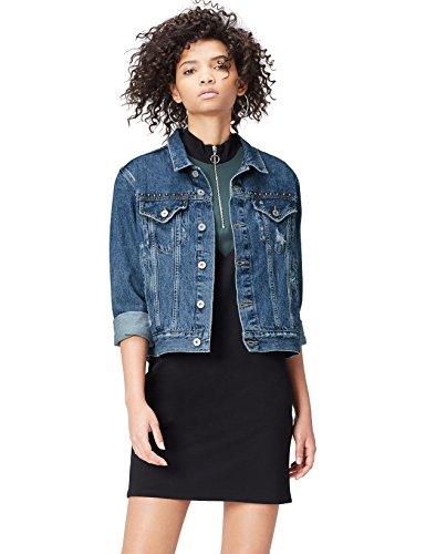 FIND Jeansjacke Damen im Distressed-Look, mit Nieten, rückseitigem Print und Brusttaschen, Blau (Mid Blue), Large