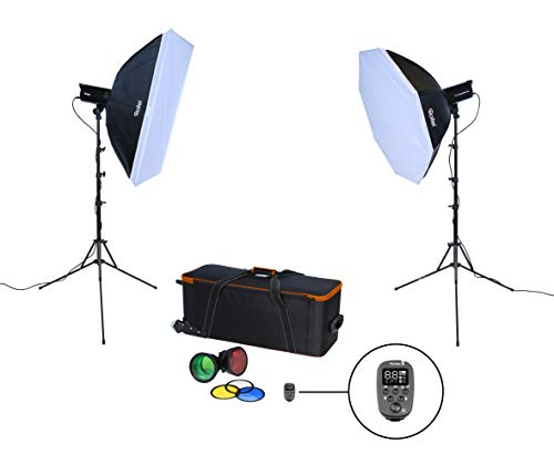 Rollei Studioblitz 400 Double Kit - Studioblitz Set mit 400 Ws Blitzleistung, 2xStudioblitz, Octabox 90 cm, Softbox 60x90 cm,...