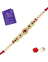 Sukkhi Alluring Gold Plated Designer with Roli Chawal and Raksha Bandhan Greeting Card For Men