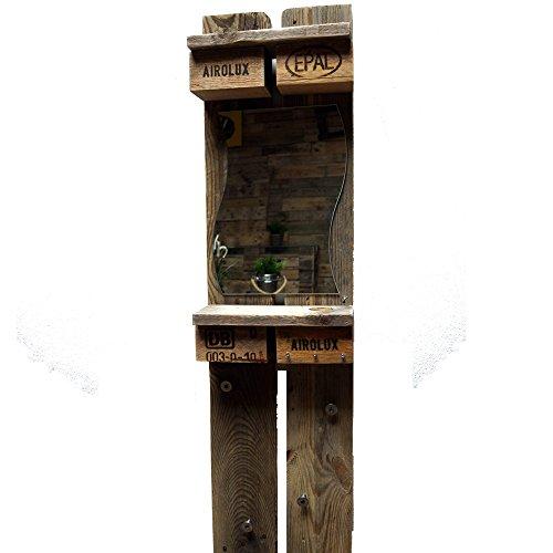 Palettenmöbel Garderobe vertikal mit Spiegel aus recycelten Palettenholz - Jedes Stück ein Unikat aus echter Handarbeit Made in Germany - Vintage Style im Industrial Look - trendy und zeitlos