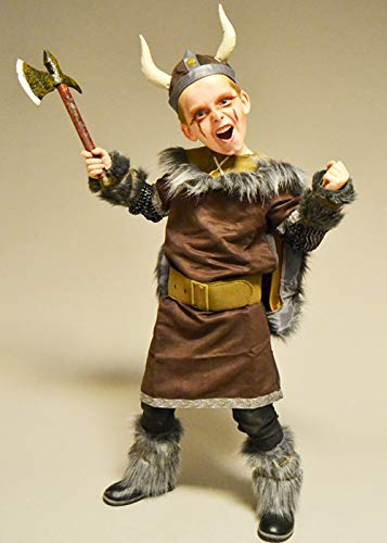 Kinder Größe Brown Viking Warrior Boy Kostüm Medium (8-10 - Viking Boy Kinder Kostüm