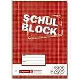 10 x Brunnen Schulblock A4 kariert Lineatur 28 mit Rand 4-fach gelocht 50 Blatt