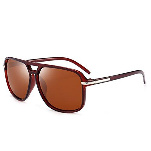 Memoryee Retro polarisierte Sonnenbrille Sportbrille für Männer und Frauen Metallrahmen Ultra Light Braun
