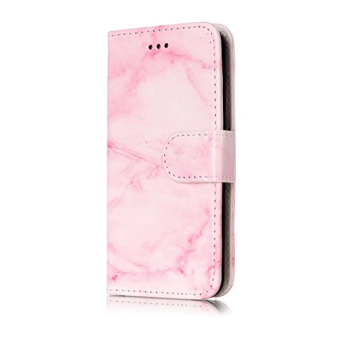iPod Touch 5 / 6 Hülle, Chreey Marmor (Marble) Serie Muster Premium PU Leder Schutzhülle Brieftasche Flip Handyhülle [Rosa Marmor] -