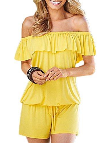 Bigood Femme Vogue Combinaison Cou Horizontal à Volants Couleur Uni Jaune