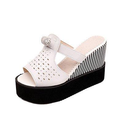 Zormey Damen Sandalen Comfort Club Schuhe Aus Lackleder Frühling Sommer Kleid Casual Strass Keilabsatz Weiss Schwarz 4-In-4 3/4 In US6 / EU36 / UK4 / CN36