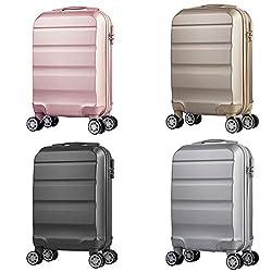 Reisekoffer 4 Rollen Handgepäckkoffer Hartschale Kleiner Koffer Trolley Kinder Gepäck leicht Rollkoffer in 53x33x20cm Hartschalenkoffer Anthrazit