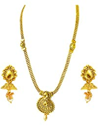 Suratdiamond Traditional Mango Motif Colored Stone And Gold Plated Necklace Earring Fashion Jewellery Set For...