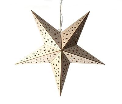 Holzstern Stern 40 Cm Inkl 10er Lichterkette Weihnachtsstern Angebot von CEP