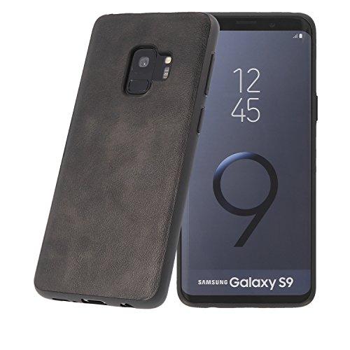 PULSARplus Handyhülle kompatibel mit Samsung Galaxy S9 Hülle Schutzhülle Dünn Case Cover, Unterstützt kabelloses Laden (Qi), Handy Hülle Vintage Schwarz