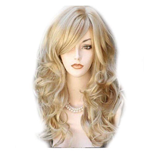 Mode Glueless Spitze-Gold Perücke Haar natürlich aussehende hitzebeständige synthetische halbe Hand gebunden Wellenförmige lange lockigen Thick für Frauen-Partei Zeitskleidung oder Kostüm,Gold -