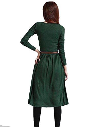 Minetom Femme Manteau Longue Vintage Tricoté Avec Boutons One-Piece Robe Vert