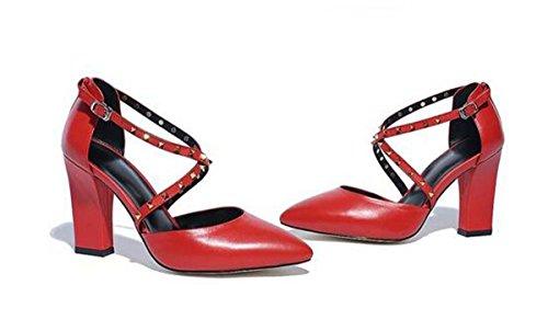 Beauqueen Scarpin gekreuzte Wölbungs-Mädchen-Frauen-Pumpen-beiläufige PARTY-Schuh-mittlere Ferse-elegante Schuhe Europa-Größe 34-39 Red
