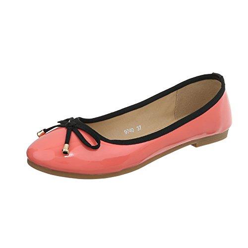 Ital-Design Klassische Ballerinas Damen-Schuhe Blockabsatz Coral, Gr 36, 9740-