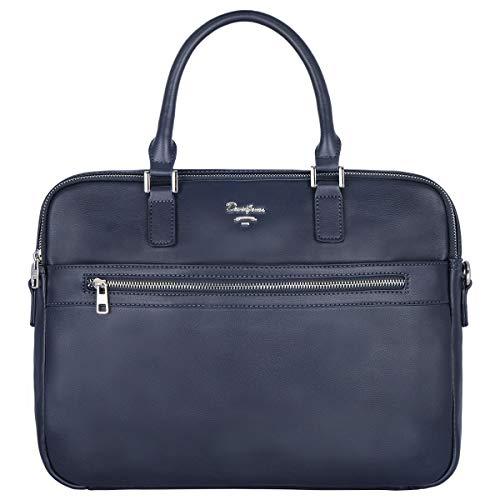 David Jones - Große Herren Umhängetasche - Leder Schultertasche - Multifunktionale Aktentasche - Business Messenger Bag - Laptop Tasche - Schultasche - Dokumententasche - Arbeit Büro - Blau