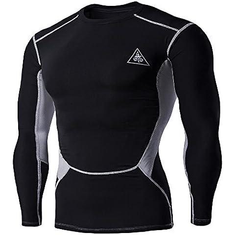 Mens Di Sport Atletico Di Compressione Corsa a Maniche Lunghe T-Shirt ()