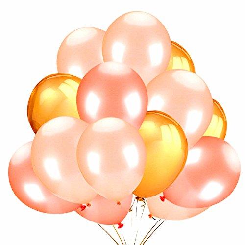 JeVenis 62 Pcs 12 Zoll Rose Gold Champagner Gold Latex Party Ballons für Hochzeit Hawaii Graduation Baby Shower Birthday Party Dekoration Lieferungen