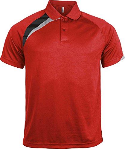 Proact Herren Poloshirt Mehrfarbig Mehrfarbig Rot - Rot