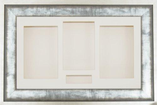 Anika 14,5 x 8,5 cm-boîte 3D en métal de style urbain avec Passe-Partout 4 ouvertures Bois Fleurs Cadre crème/fond crème