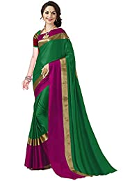 ANNI DESIGNER Indian Women's Cotton Silk Festive Saree with Blouse Piece(Pradip_TD_Green and Red-SF_Free Size)