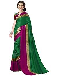 Art Décor Indian Women's Cotton Silk Festive Saree with Blouse Piece(Pradip_TD_Green_Green & Pink_Free Size)