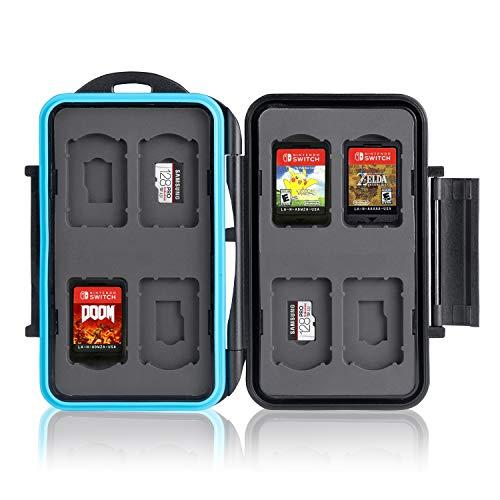 Ares Foto® Speicherkarten Schutzbox für 8 x Nintendo Switch Spiele Cartridges • Memory Card Case • Reisetasche Schutzhülle • Card Safe • Tasche • Etui • Aufbewahrungsbox • Organizer (MC-NSMSD16)