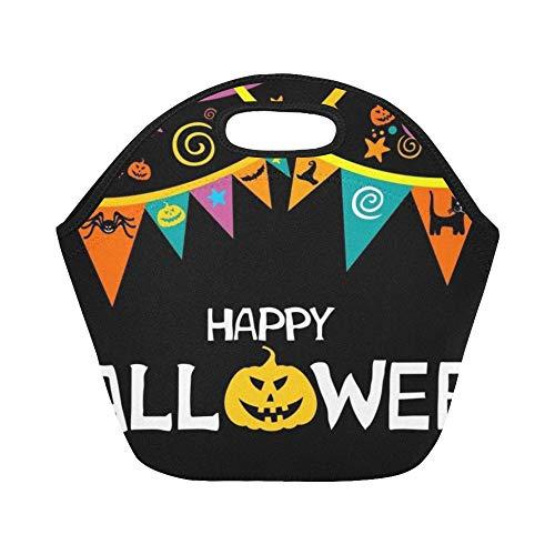 Isolierte Neopren-Lunch-Tasche Happy Halloween Celebration Schwarzer Kürbis Große wiederverwendbare thermische dicke Lunch-Tragetaschen Für Brotdosen Für draußen, Arbeit, Büro, Schule