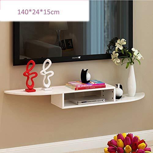 YUEQISONG Wandhalterung für DVD-Komponenten, Set-Top-Boxen, Kabelboxen, Streaming-Geräte und Dvrs mit Schwarzglas-Regal, 140 * 24 * 15 cm, Weiß (Dvr-regale)