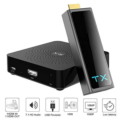 Kabelloser HDMI-Sender, Sender und Empfänger HDMI Wireless Extender 100ft 1080p 3D Video/Audio Streaming von Laptop, PC, PS4, Xbox 1, Pro-Kamera zu HDTV, Projektor, Monitor - Hdtv-100ft-tv Dvd-player