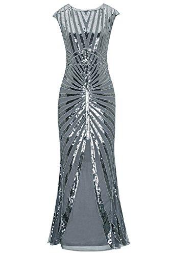 Metme Damen der 1920er Jahre Vintage Prom Fransen Pailletten lange Flapper brüllend Gatsby Kleid für Party Vintage-kleid Der 1920er Jahre