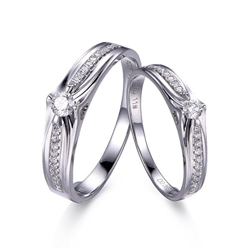 Eshow anillos anillos de boda anillos de compromiso socios anillos de boda de 18K de diamantes de oro blanco
